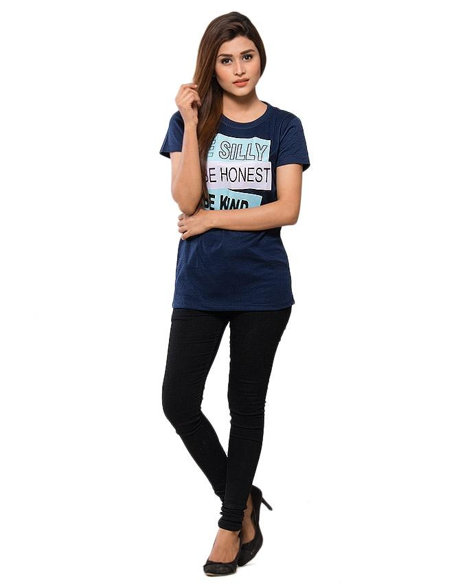 Navy Blue Blended Cotton Printed T-Shirt for Women