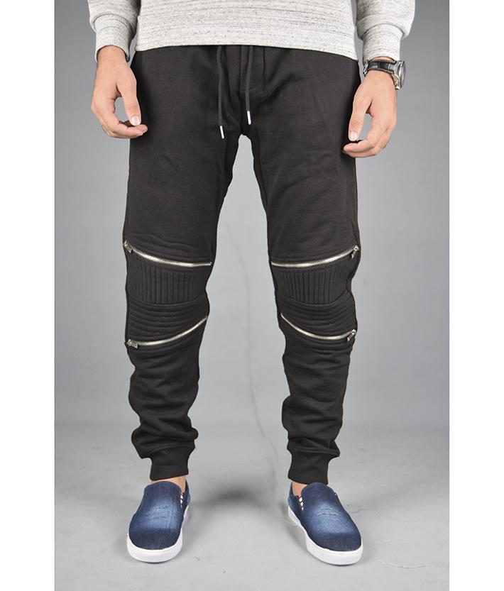 89cc650543 black zipper jogger pants