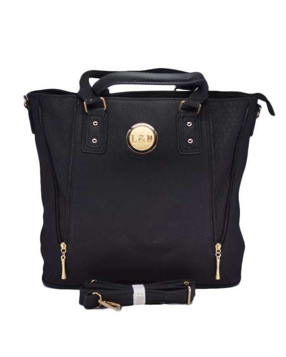 Big Size Black Colour Latest Design Women Handbag