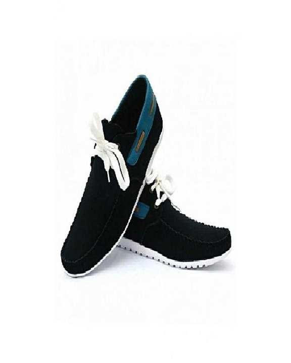 Black Leather Sneakers Shoes For Men