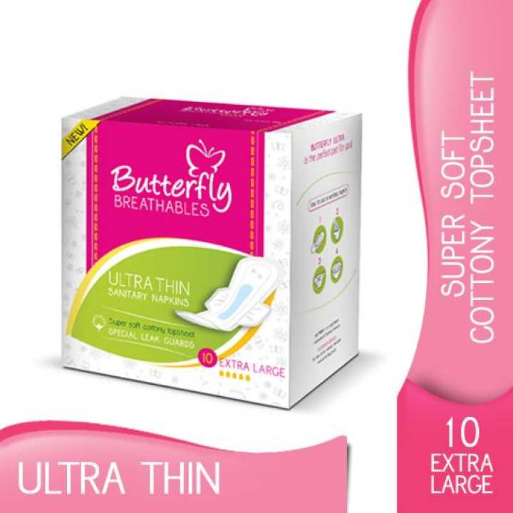 Butterfly Breathables Ultra Thin Cotton Top Sheet Sanitary Pads, Extra Large, 10 Pcs