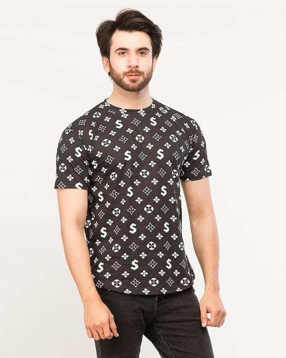 Black Printed Round Neck T-shirt For Men