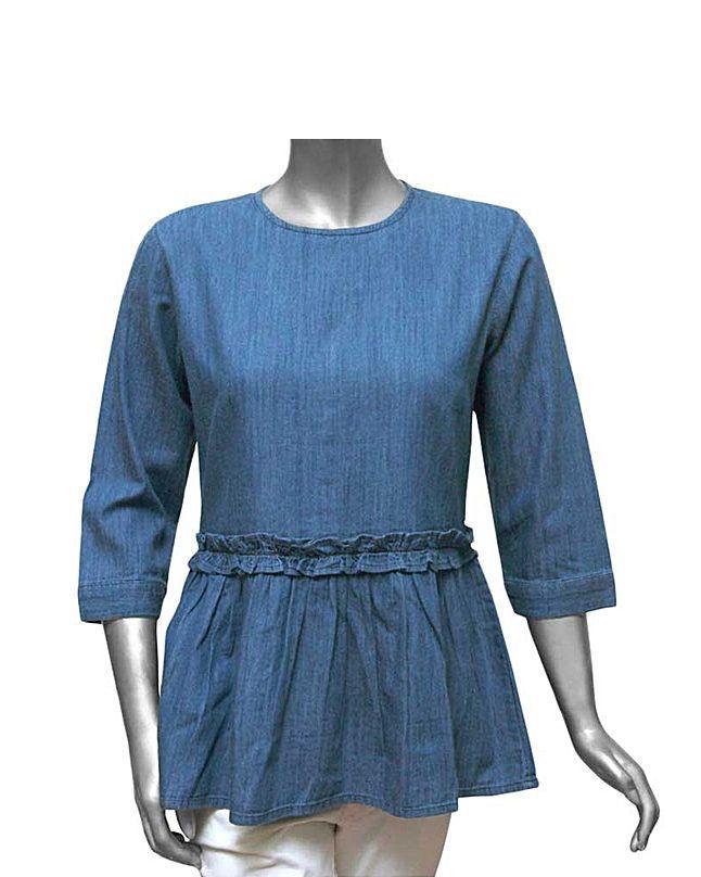 Blue Denim Frok Top For Girls