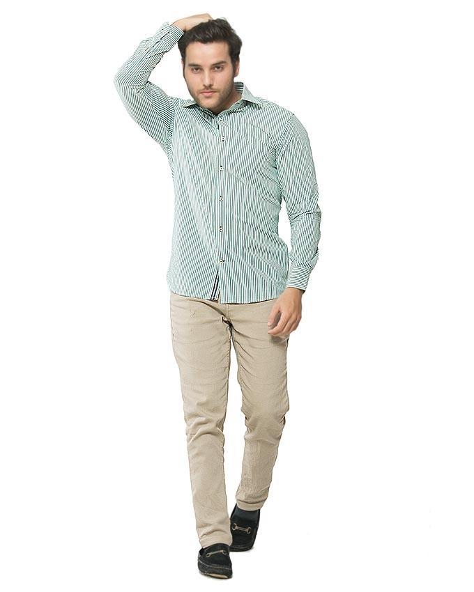 Green Cotton Striped Shirt for Men - FS16026