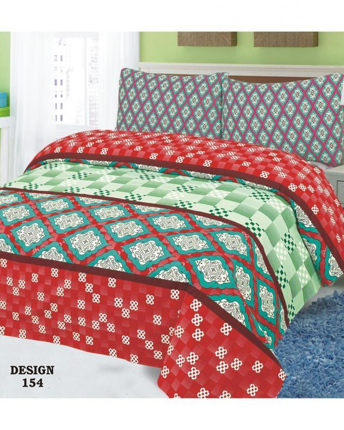 Multicolour Cotton King Size Bed Sheet - 3 Pieces