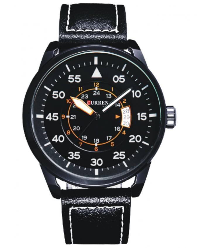 8210 - Black Leather Analog Watch for Men