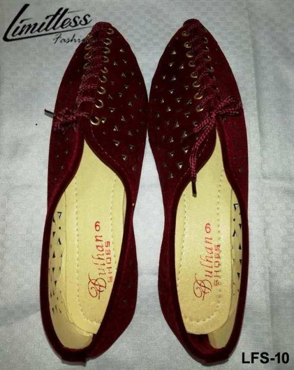 Fancy Cut Work Valvet Shoes For Ladies