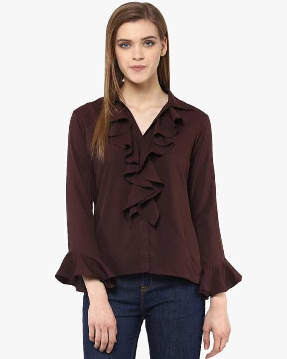 Chiffon Solid Burgendy Brown Frilled Neck And Bell Sleeve Top For Her