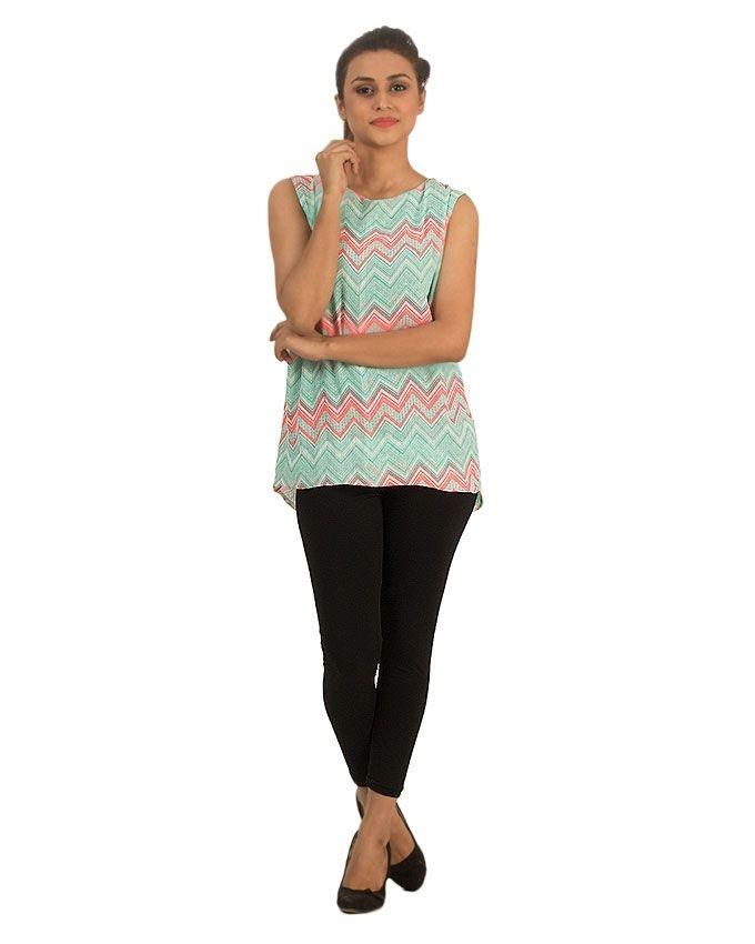 Green Crepe Chiffon Top with Neon Pink Zigzag Stripes & No Sleeves for Women