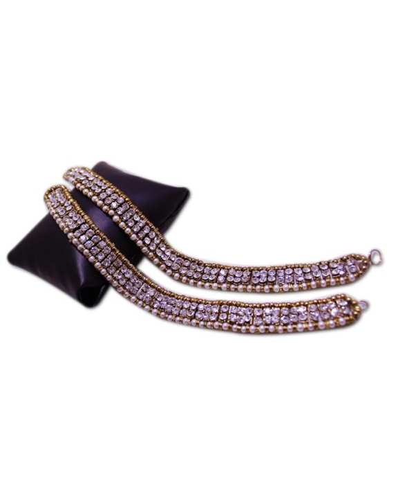 Big Size Beads & Stone Anklet for Girls - Golden Silver