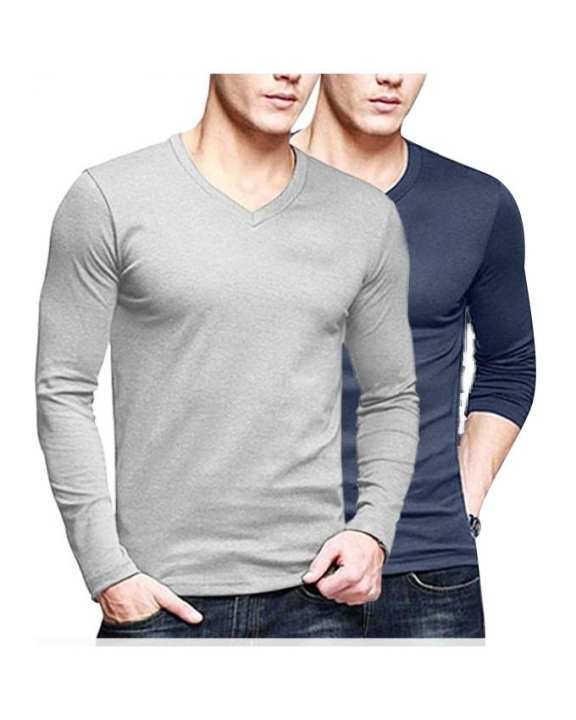 Pack of - 2 Grey & Blue Cotton Tshirt for Men
