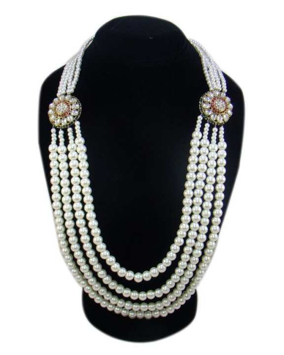 Off White Pearl Beeds & Metal Necklace For Women