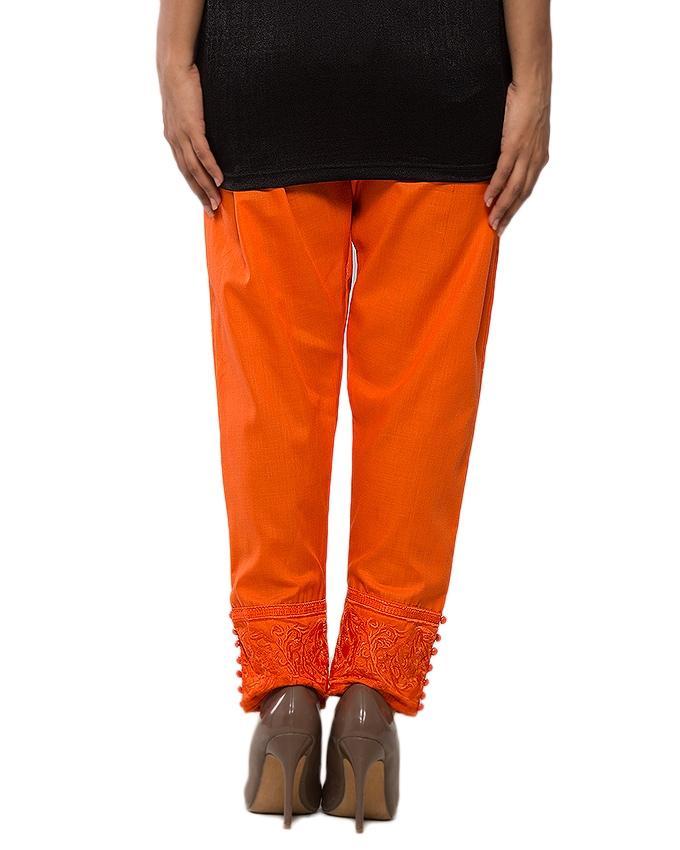 Orange Cotton Cigarette Pant for Women