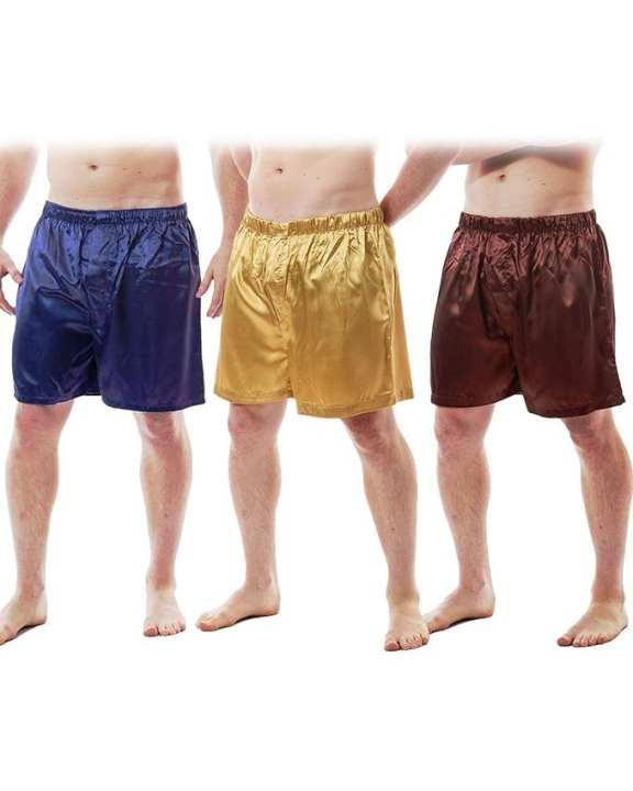 Pack Of 3 Solid Silk Boxer For Men's - Sb01-Nv,Gd,Br
