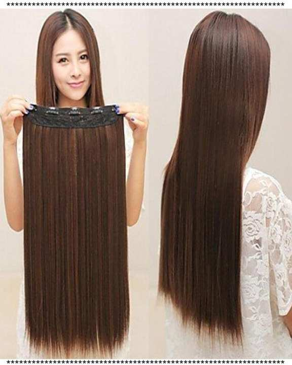 Straight Full Head Clip In Hair Extension - Natural Brown