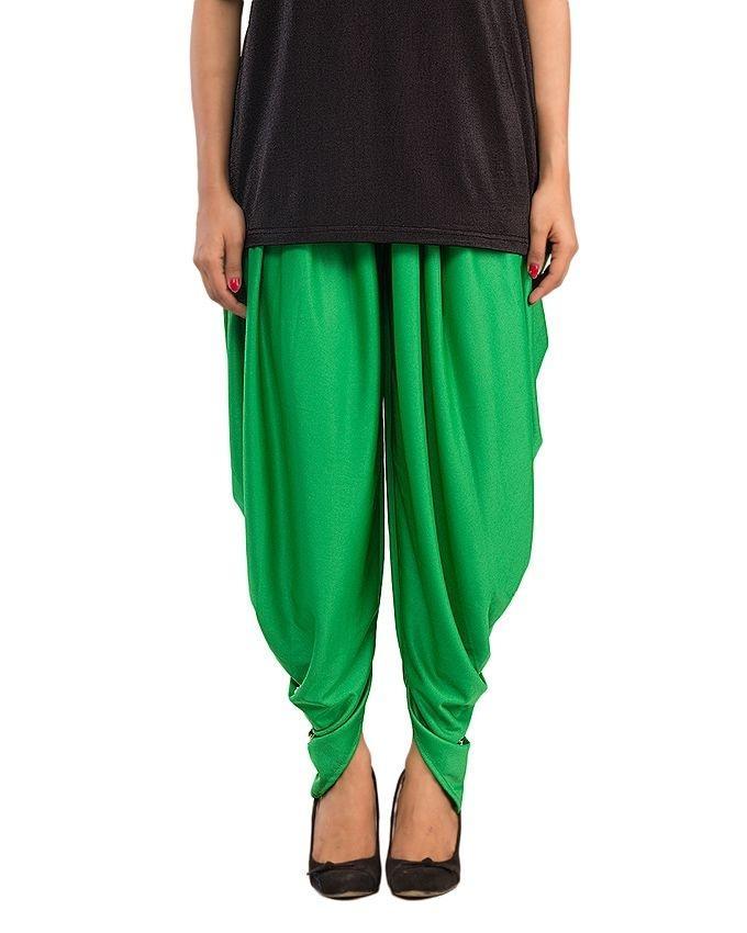 Green Cotton Lycra Tulip Shalwar for Women - CWC267
