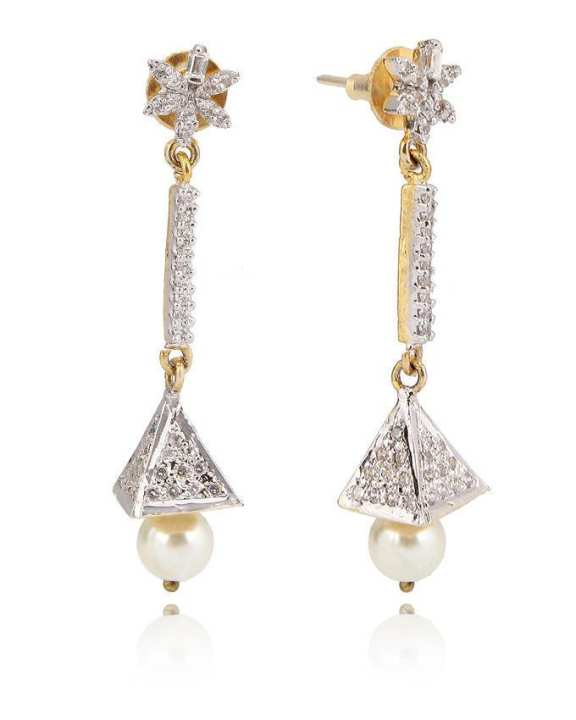 Silver & Gold Metal American Diamond Earrings T-03
