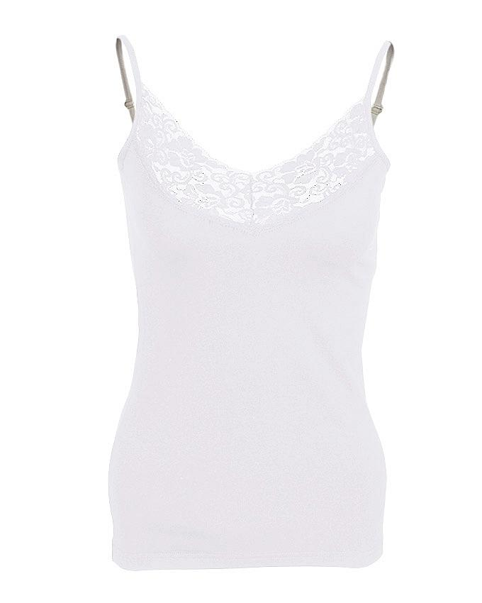 Camisole Collection White Cotton V Lace up Camisole for Women