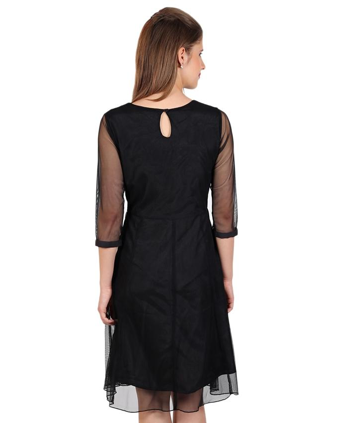 Black Chiffon Dress For Women - SI-311