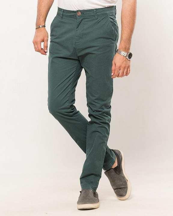 Bottle Green-Cotton-Stretch Men'S Chino-Slim Fit