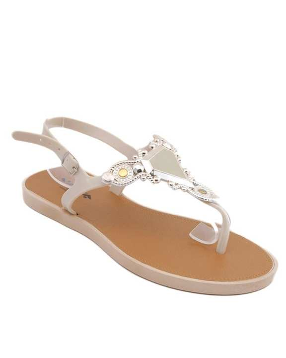 Beige Imported Italian Design Fancy Sandals for Women - BBB04