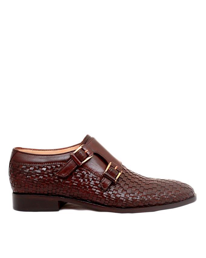 JC-107-Burgundy Brown Leather Hand Weaved Shoe