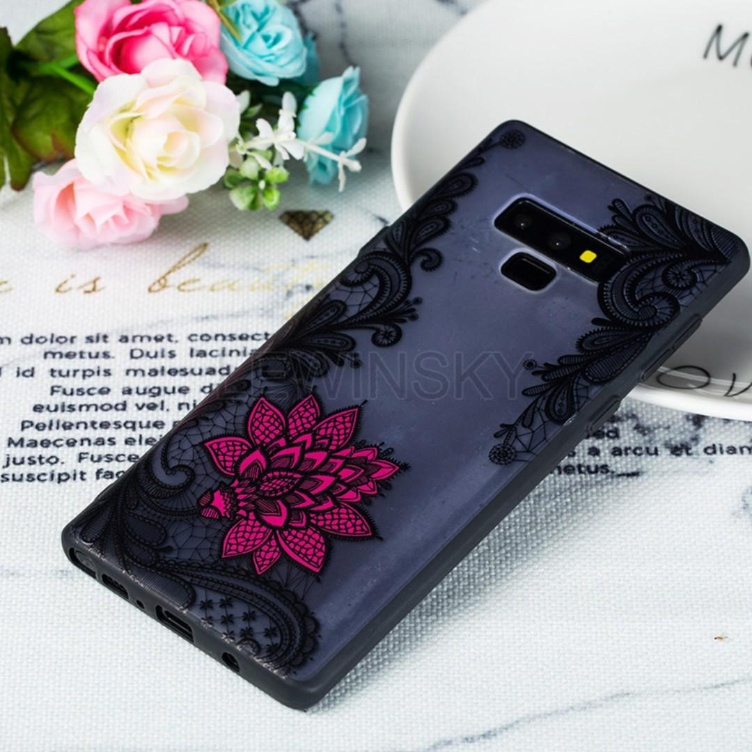 Soft TPU Bumper Shockproof Protective Phone Case Cover for Samsung Galaxy note 9 (Lace Flower