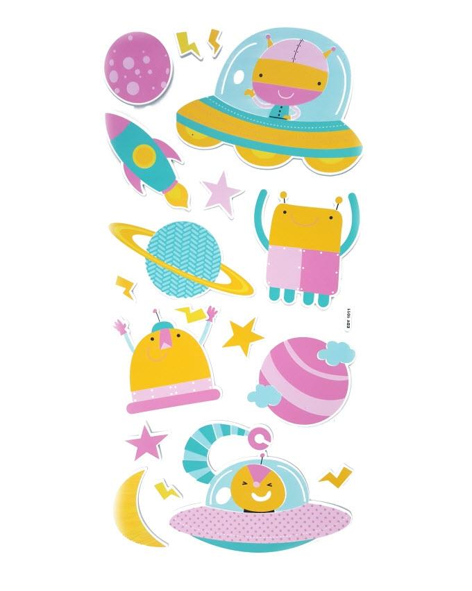 3D Space Wall Stickers - Multicolor
