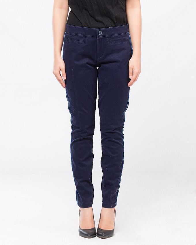Dark Blue Cotton Casual Trouser For Women