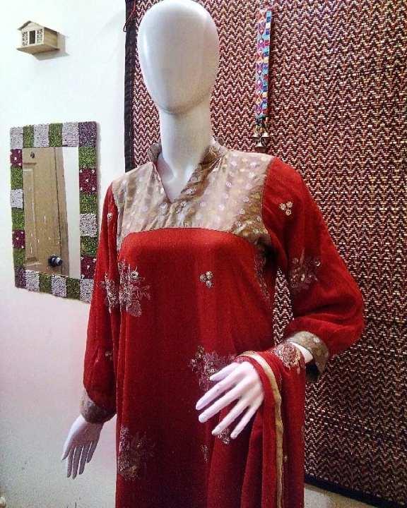 Orange Chiffon Golden Embroidery Stitched (4Pcs) Chori Pajama For Women on Daraz pk
