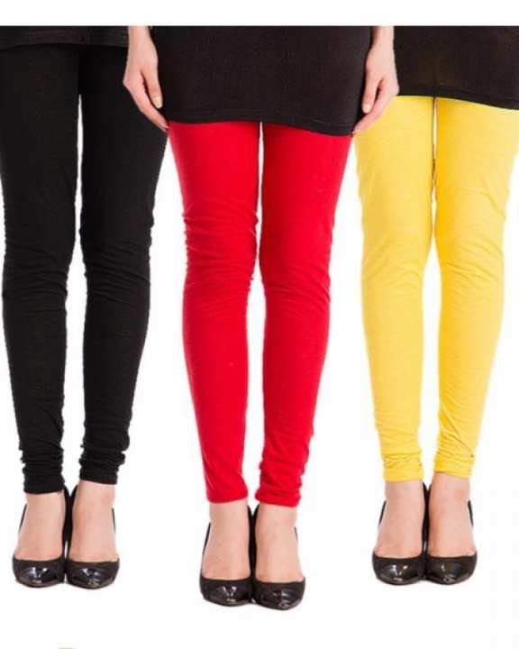 Pack of 3 - Multicolor Cotton Churidaar Tights For Women