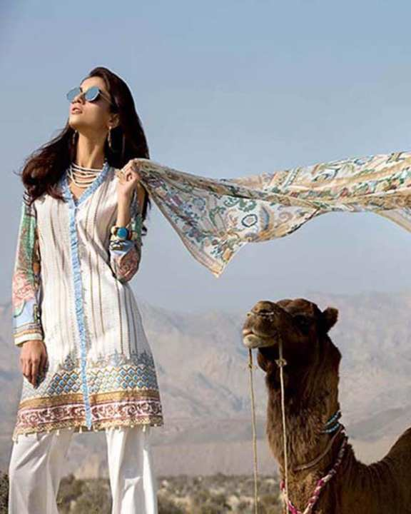Gul Ahmed - Off White Chiffon with Embroidered Front Printed Back/Sleeves & Lace 3PC-Unstitched -  C-487-158427