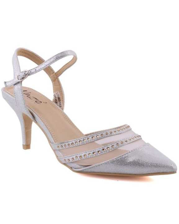 """Silver Women """"ANNA"""" Pointed Toe Ankle Strap Kitten Heel Courts L29903"""