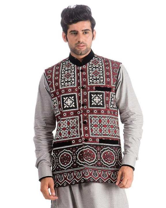 Maroon Cotton Ajrak Waist Coat for Men