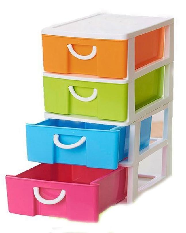 Set of 4 - Multiple Use Drawer Cabinets - Multicolor