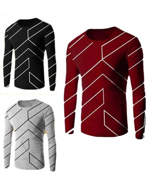 Pack of 3 - Multicolor Cotton Fashion Designer T-shirts For Men