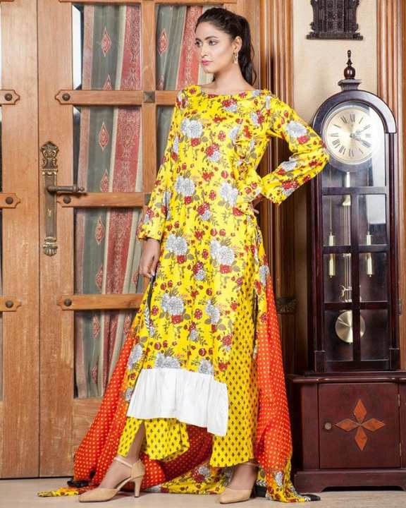 Yellow Unstitched Lala Designer 2 PC Lawn