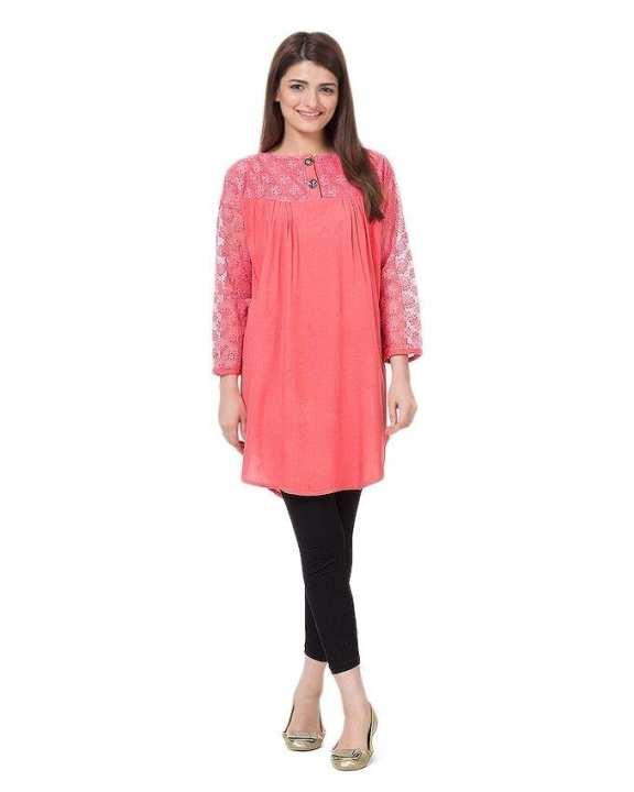 Peach Cotton & Net Shirt for Women