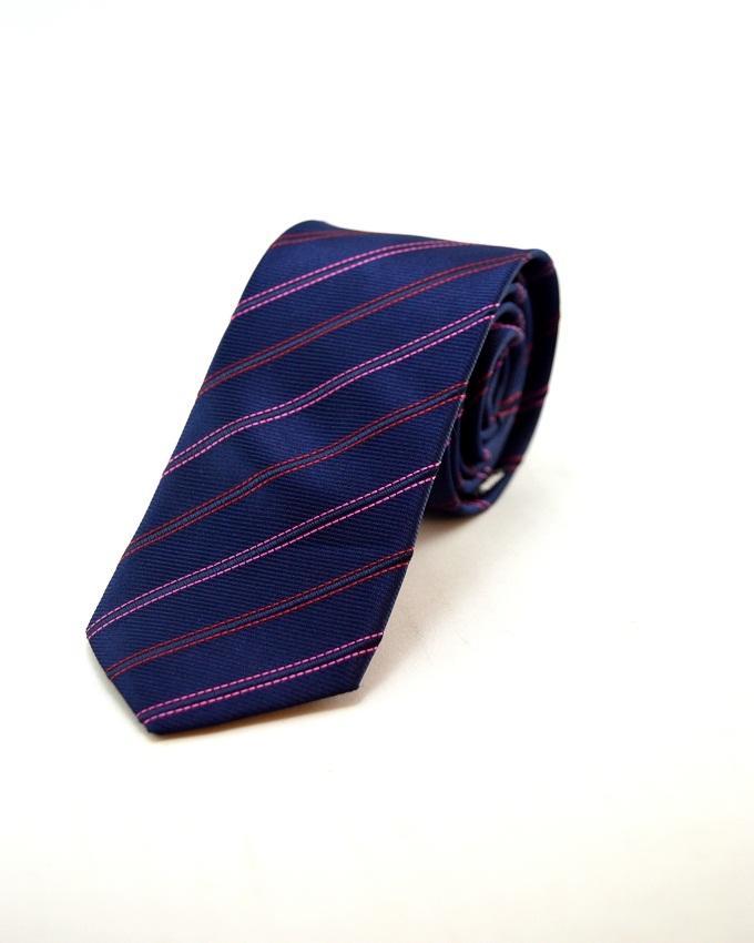 Blue Polyester Stripes Tie For Men