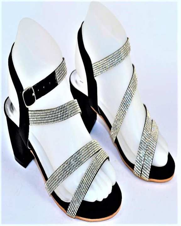 Black Stone Sheet & Block Heel Heels For Women