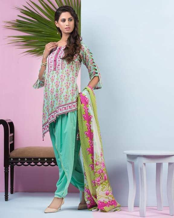 Turquoise Printed 3Pcs- Unstitched  Lawn For Women