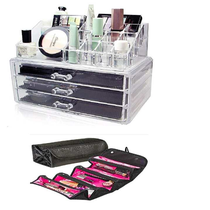 Pack Of 2 - 3 Drawers Cosmetic Storage Box & Roll N Go Cosmetic Bag
