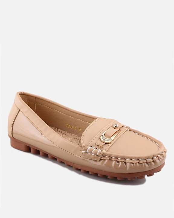 Beige Thermo Plastic Rubber & Synthetic Leather Loafers For Women - Nancy 6063