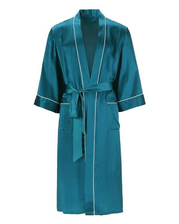 Solid Silk Dark Teal Color Gown With Piping For Men's