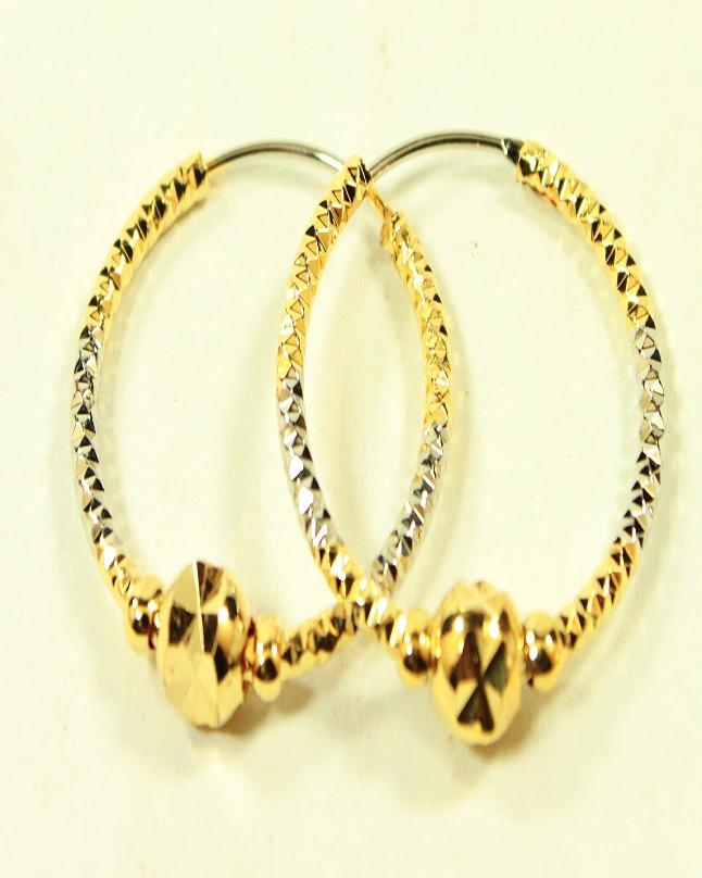 Gold plated Golden Round shape Medium Earring