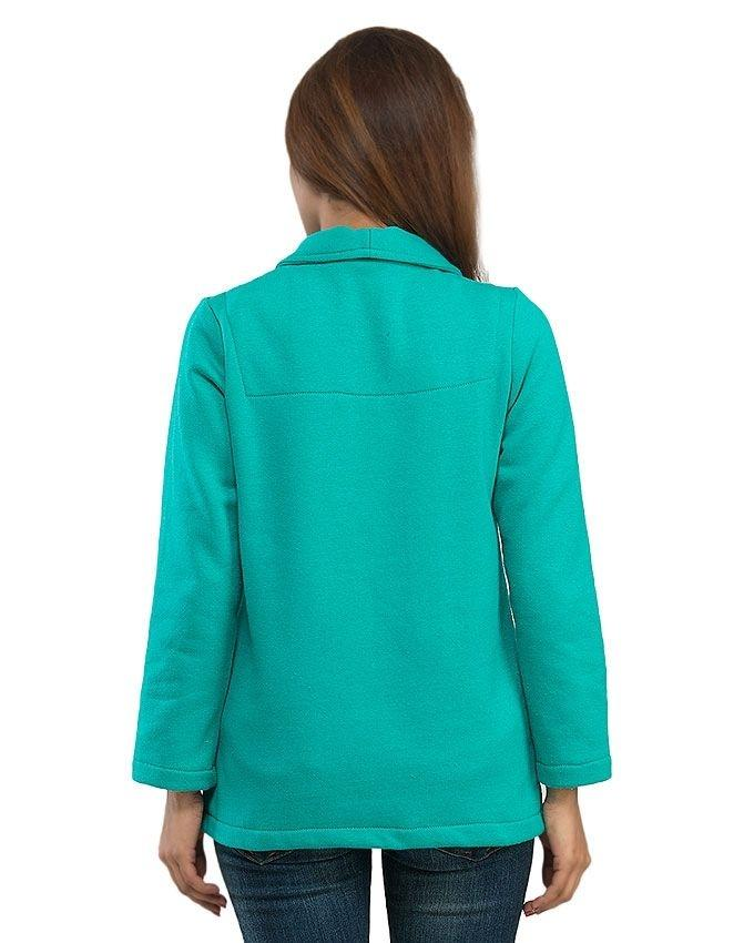 Light Green Fleece Front Open Jacket with Pocket for Women - 14244