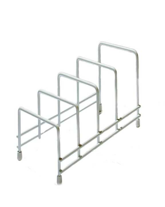 Heavy Duty Spacesaving Stainless Steel Plate Storage Rack / Drainer With Non Slip Rubber Feet (White)