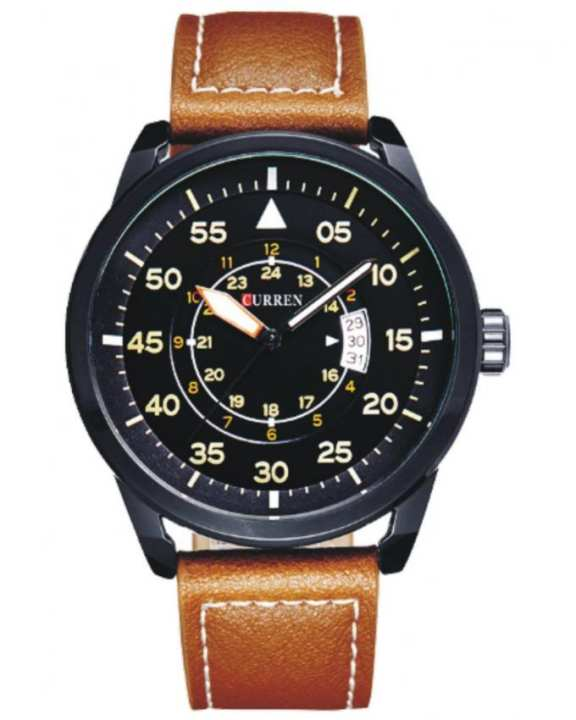 Brown Leather Analog Watch For Men - 8210