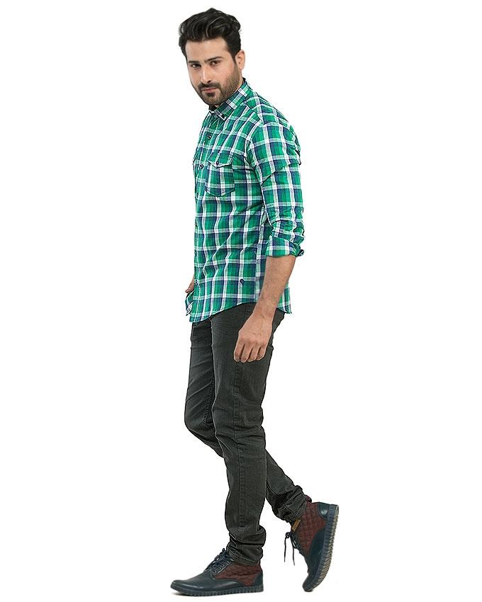 Green & White Checkered  Cotton Casual Shirts For Men