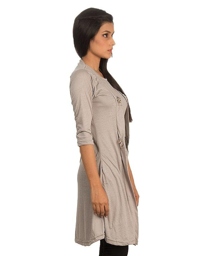Grey Viscose Shrug Style Top For Women